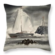 Sailing On A Grey Day Throw Pillow