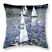 Sailing On Blue Throw Pillow