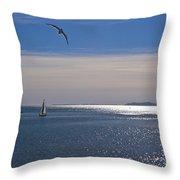 Sailing On Christmas Ventura Harbor Throw Pillow