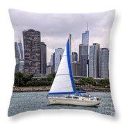 Sailing On Lake Michigan Throw Pillow