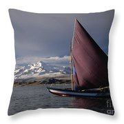 Sailing Boat On Lake Titicaca Throw Pillow