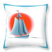 Sailing Red Sun Throw Pillow