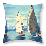 Sailing Regatta At Port Hardy Throw Pillow