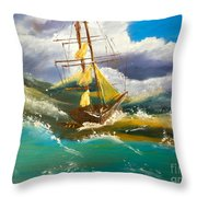 Sailing Ship In A Storm Throw Pillow