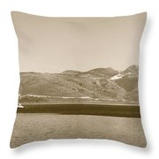 Sailing Ship In The Adriatic Islands In Sepia Throw Pillow