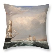 Sailing Ships Off The New England Coast Throw Pillow