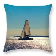 Sailing The Ocean Blue Throw Pillow