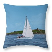 Sailing Through Dalkey Sound Throw Pillow