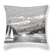 Sailing Mount Hood Oregon Throw Pillow