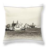 Sailing Up The Mersey Throw Pillow