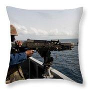 Sailor Fires A M240b Machine Gun Aboard Throw Pillow