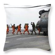 Sailors Board An Mh-53e Sea Dragon Throw Pillow