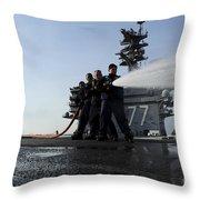 Sailors Conduct Hose Team Training Throw Pillow
