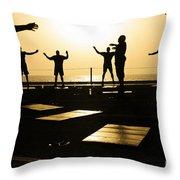 Sailors Exercise In The Hangar Bay Throw Pillow