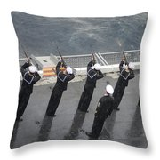 Sailors Fire A 21-gun Salute Throw Pillow
