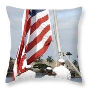 Sailors Hoist The American Flag Throw Pillow