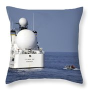 Sailors In A Rigid-hull Inflatable Throw Pillow