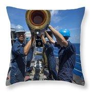 Sailors Load Rim-7 Sea Sparrow Missiles Throw Pillow