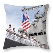 Sailors Man The Rails Aboard Uss Throw Pillow