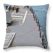 Sailors Man The Rails On Uss Mccampbell Throw Pillow