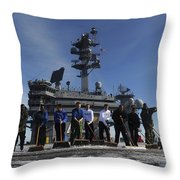 Sailors Participate In A Fight Deck Throw Pillow