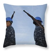 Sailors Practice A Routine Aboard Uss Throw Pillow