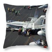Sailors Push An Fa-18c Hornet Throw Pillow