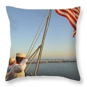 Sailors Salute The National Ensign Throw Pillow