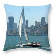 Sailors View Of San Francisco Skyline Throw Pillow