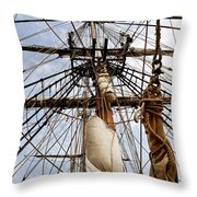 Sails Aboard The Hms Bounty Throw Pillow