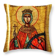 Saint Catherine Of Alexandria Icon Throw Pillow