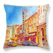 Saint Catherine Street Montreal Throw Pillow
