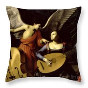 Saint Cecilia And The Angel Throw Pillow