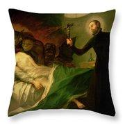 Saint Francis Borgia Helping A Dying Impenitent Throw Pillow