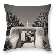 Saint Francis In Sepia Gold Throw Pillow