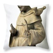 Saint Francis Of Assisi Statue With Birds Throw Pillow