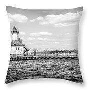 Saint Joseph Lighthouse Retro Panoramic Photo Throw Pillow