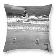 Saint Joseph Michigan Lighthouses Stormy Day At Silver Beach I Bw Throw Pillow