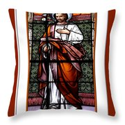 Saint Joseph  Stained Glass Window Throw Pillow by Rose Santuci-Sofranko