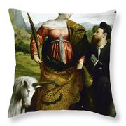 Saint Justina With The Unicorn Throw Pillow