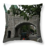 Saint Louis Gate In Ramparts Of Quebec City Throw Pillow