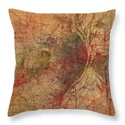 Saint Louis Missouri Street Map Schematic Watercolor On Old Parchment From 1903 Throw Pillow