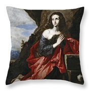Saint Mary Magdalene In The Desert Throw Pillow