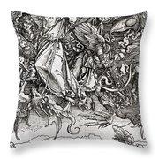 Saint Michael And The Dragon Throw Pillow