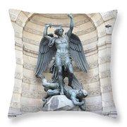 Saint Michael The Archangel In Paris Throw Pillow