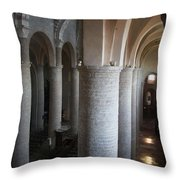Saint Philibert Church Interior Burgundy Throw Pillow