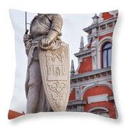 Saint Roland I Riga Old Town Throw Pillow