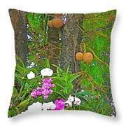 Sala Tree And Orchids At Buddhist University In Chiang Mai-thail Throw Pillow