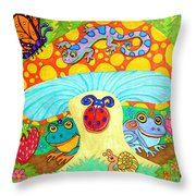 Salamander And Friends Throw Pillow