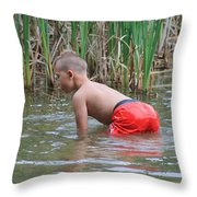 Salamander Hunt Throw Pillow